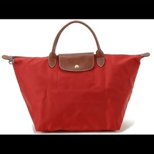 Longchamp red Le Pilage purse